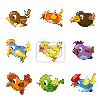 Bild Lustige Vögel Symbole. Cartoon Vögel Vektor-Set für Spiel ui mit Vögeln
