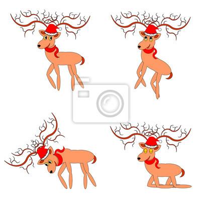 Lustige Weihnachten Hirsche auf weißem Hintergrund