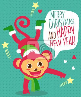 Lustiger affe wünschte ein glückliches neues jahr. weihnachten ...