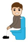 Cartoon Nackt Mann In Toilette Leinwandbilder Bilder Privies Kot