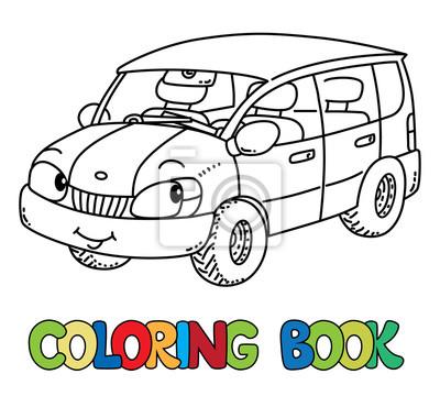 Lustiges kleines auto mit augen. malbuch leinwandbilder • bilder ...