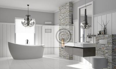 Bild: Luxuriöses modernes badezimmer mit freistehender badewanne