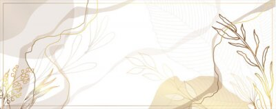 Bild Luxurious golden wallpaper. White background. Gold leaves wall art with shiny golden light texture. Modern art mural wallpaper. Place for your text. Vector illustration.