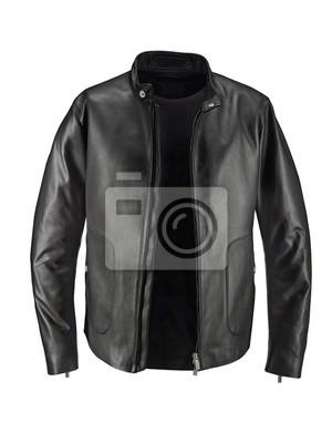 Bild Luxuru schwarze Lederjacke isoliert auf weiß + Beschneidungspfad
