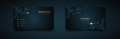 Bild Luxury and elegant dark black navy business card design with gold style minimalist print template