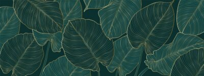 Bild Luxury gold and nature green background vector. Floral pattern, Golden split-leaf Philodendron plant with monstera plant line arts, Vector illustration.