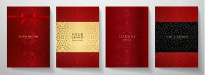 Bild Luxury red curve pattern cover design set. Elegant floral ornament on maroon background. Premium vector collection for Christmas celebration, luxe invite, royal wedding template