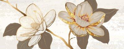 Bild Luxury white magnolia foil metallic background vector with golden metallic home decorate wall art