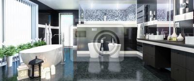 Luxus Badezimmer Panorama Leinwandbilder Bilder Appartment Innenarchitektur Bidet Myloview De