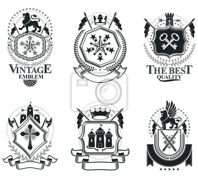 Luxus heraldische vektoren emblem vorlagen. vektor blazons ...