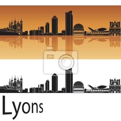 Bild Lyons Skyline in orangefarbenen Hintergrund