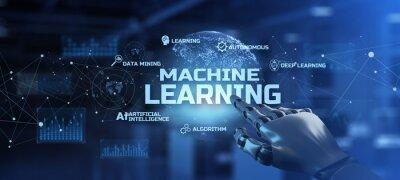 Bild Machine learning AI Artificial intelligence technology concept. Robot hand pressing button on screen 3d render.