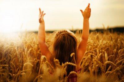 Bild Mädchen auf einem Weizen