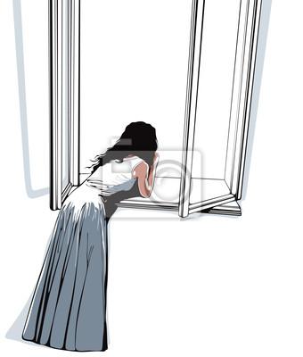 Mädchen beobachten durch das Fenster, Vektor-Illustration.
