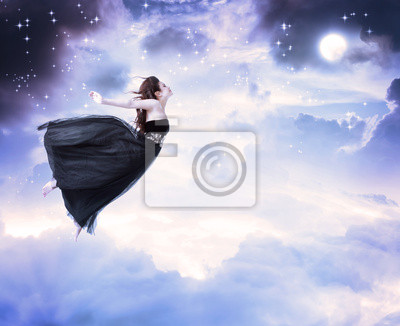 Mädchen im Mondschein Himmel