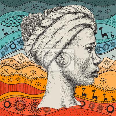 Mädchen In Turban Mit Afrikanischen Hand Zeichnen Ethno Muster