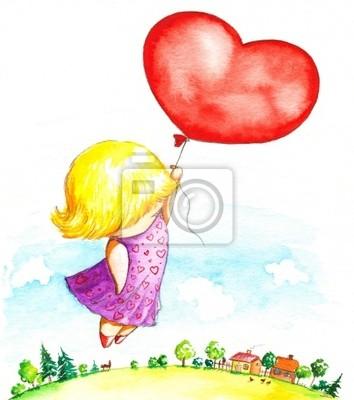 Mädchen mit Herzballon-Aquarell.