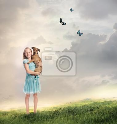 Mädchen mit ihrem Hund