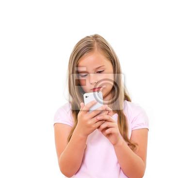 Bild Mädchen mit Mobiltelefon.