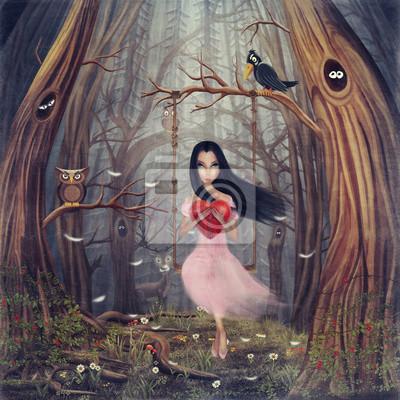 Mädchen sitzt auf einer Schaukel im Wald