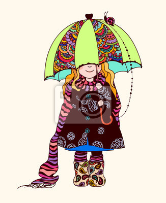Bild Mädchen unter dem Regenschirm