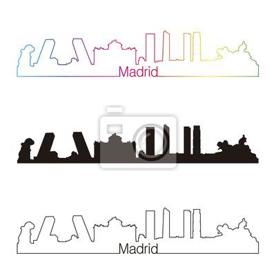 Bild Madrid Skyline linearen Stil mit Regenbogen