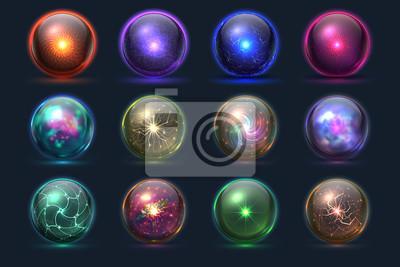 Bild Magic balls. Energy mysterious orbs, magical crystal glass prediction paranormal sphere. Vector set of color sphere crystal, glass magic ball illustration