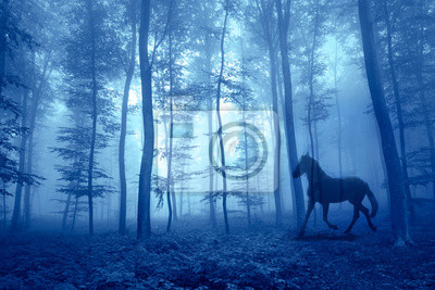 Magic foggy forest with running horse