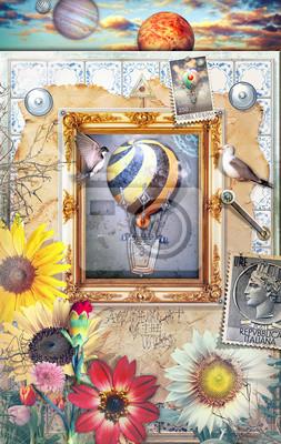 Magic Spiegel mit Heißluftballons, Blumen des Frühlings und alten sta