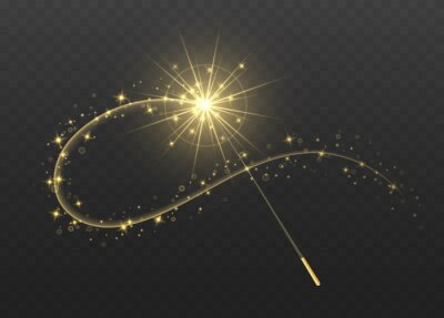 Bild Magic wand with golden swirl and sparkles isolated on transparent background. The magic scepter with stardust trail.