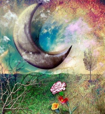 Magische Mond auf dem Lande