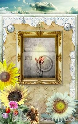 Magische Spiegel im Feld von Sonnenblumen