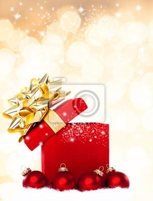 Magische Weihnachten Geschenk Hintergrund mit roten Kugeln