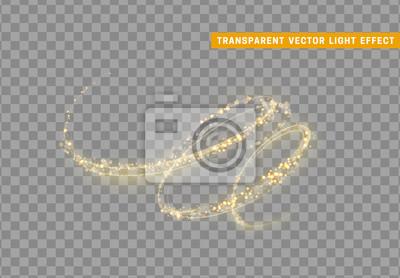 Bild Magischer Lichteffekt. Stardust goldener Glitzer. Scheinsternstaub-Vektorillustration.