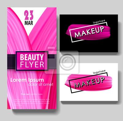 Make Up Visitenkarte Schönheit Flyer Vorlage Farbe Pinsel