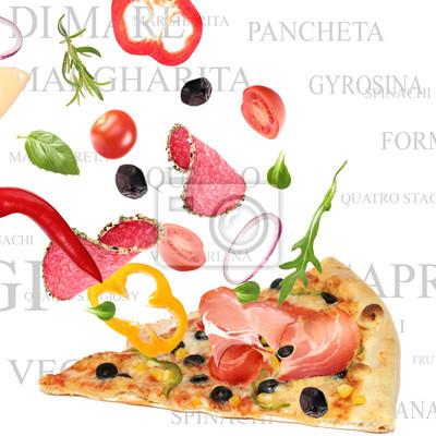 Bild Making a Pizza mit italienischer Wörter im Hintergrund. Teil III