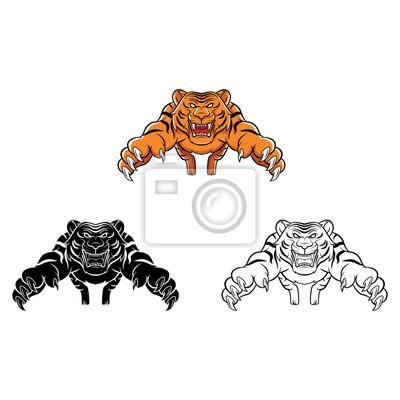 Malbuch tiger cartoon-figur leinwandbilder • bilder Färben, bengal ...
