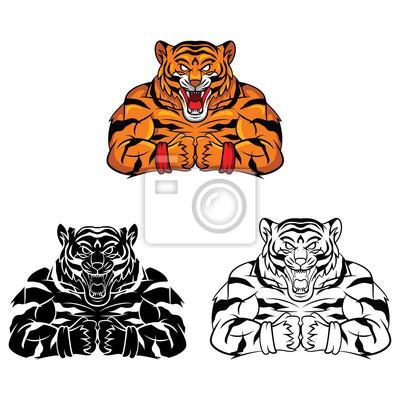 Malbuch tiger strong cartoon-figur leinwandbilder • bilder Färben ...