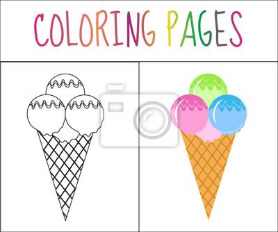 Malbuchbuchseite. eis. skizze und farbversion. färben für kinder ...