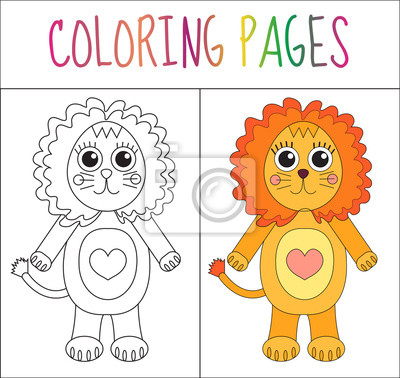 Malbuchbuchseite. löwe. skizze und farbversion. färben für kinder ...