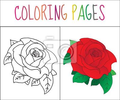 Malbuchbuchseite, rose. skizze und farbversion. färben für kinder ...