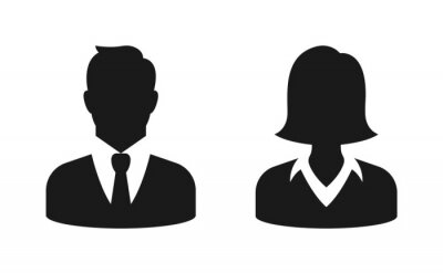 Bild Male and female bust silhouette or icon. Man and woman profile avatar. Unknown or anonymous person. Vector illustration.