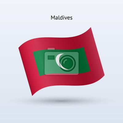 Malediven Fahnenschwingen Form. Vektor-Illustration.