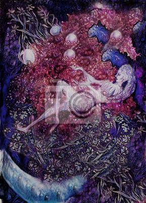 Malerei der lila Blumenfeen, ausführliche bunte Grafik