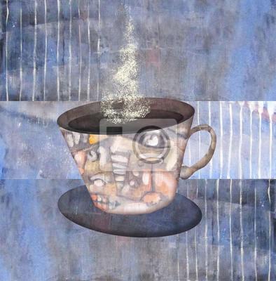 Bild Malerei Gemusterte Tassen Dampfenden Kaffee Oder Tee Auf Abstrakte  Violetten Hintergrund. Tasse Heißes Getränk