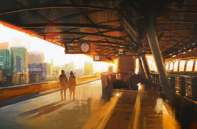 Bild Malerei, Paar wartet mit dem Zug auf der Station