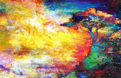 Bild Malerei Sonnenuntergang, Meer und Baum, Tapeten Landschaft, Farbe Collage