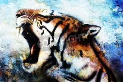 Bild Malerei Sumatran Tiger Brüllen