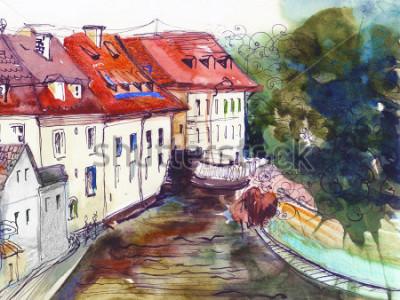 Bild Malerisches tschechisches Kleinstadtaquarellillustrationsplakat-Ölgemälde-Segeltucharchitekturhandzeichnungshintergrundtextilmusterpostkarten-Buchskizze