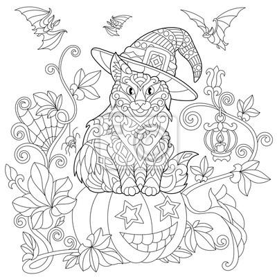 Malvorlage der katze in einem hut sitzt auf einem halloween kürbis ...